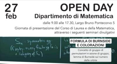 Open Day di Matematica, 27 febbraio 2020