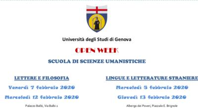 OPEN DAY SCUOLA DI SCIENZE UMANISTICHE DI UNIGE